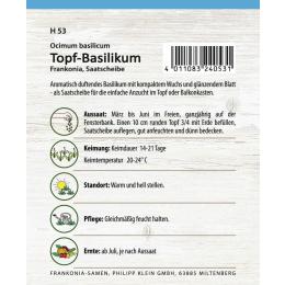 Topf-Basilikum, Saatscheibe