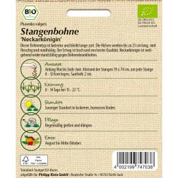 Stangenbohne Neckarkönigin, BIO